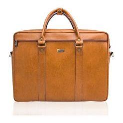 Torba Solier Skórzana torba na ramię laptopa Solier MARCEL Camel. Brązowe torby na laptopa marki Solier. Za 388,77 zł.