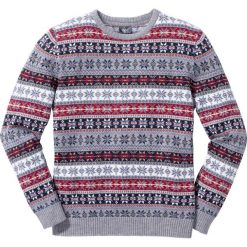 Swetry klasyczne męskie: Sweter norweski z okrągłym dekoltem Regular Fit bonprix szary wzorzysty
