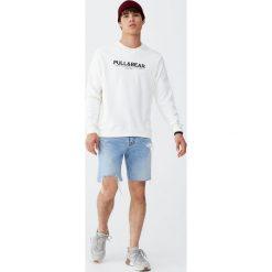 Bluza basic z logo. Białe bluzy męskie rozpinane Pull&Bear, m. Za 79,90 zł.