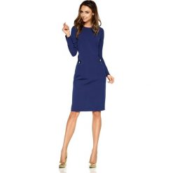 Elegancka sukienka biznesowa granatowy ABRIL. Niebieskie długie sukienki Lemoniade, do pracy, na jesień, l, biznesowe, z okrągłym kołnierzem, z długim rękawem, proste. Za 159,90 zł.