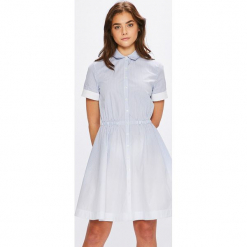 Tommy Hilfiger - Sukienka. Szare sukienki mini marki TOMMY HILFIGER, m, z nadrukiem, z bawełny, casualowe, z okrągłym kołnierzem. W wyprzedaży za 599,90 zł.