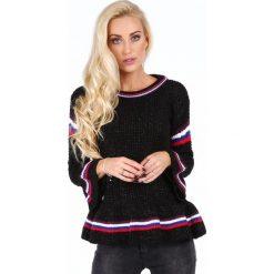 Sweter z falbaną czarny RR20069. Czarne swetry klasyczne damskie marki Fasardi, m, z dresówki. Za 179,00 zł.