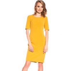 Musztardowa sukienka z krótkim rękawem BIALCON. Pomarańczowe sukienki koktajlowe marki BIALCON, z krótkim rękawem, mini. W wyprzedaży za 102,00 zł.