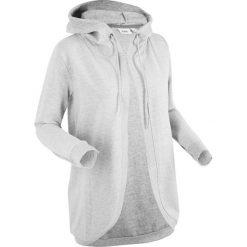 Odzież damska: Bluza rozpinana z kapturem, długi rękaw bonprix jasnoszary melanż