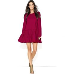Bordowa Dresowa Sukienka z Szerokimi Falbankami na Dole. Czerwone sukienki Molly.pl, do pracy, m, z aplikacjami, z dresówki, biznesowe, z falbankami. Za 119,90 zł.