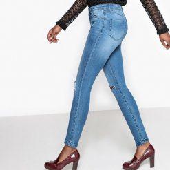 Dżinsy wysokie skinny. Szare jeansy damskie marki La Redoute Collections, m, z bawełny, z kapturem. Za 127,64 zł.
