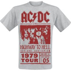 T-shirty męskie z nadrukiem: AC/DC Highway To Hell - Red Photo - 1979 Tour T-Shirt odcienie szarego