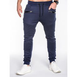 Spodnie męskie: SPODNIE MĘSKIE DRESOWE P427 – GRANATOWE