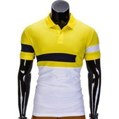 KOSZULKA MĘSKA POLO BEZ NADRUKU S846 - ŻÓŁTA. Żółte koszulki polo Ombre Clothing, m, z nadrukiem. Za 39,00 zł.
