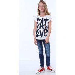 Bluzki dziewczęce z krótkim rękawem: Bluzka dziewczęca z krótkim rękawem i napisem biała NDZ81690