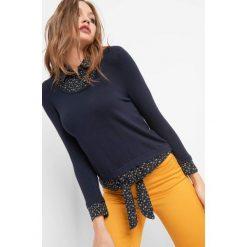 Koszula bimaterial. Niebieskie koszule wiązane damskie marki Orsay, xs, w kwiaty, z dzianiny. W wyprzedaży za 70,00 zł.