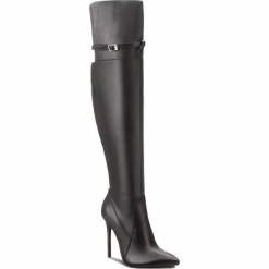 Muszkieterki BADURA - 9319-69-L Czarny. Czarne buty zimowe damskie Badura, z materiału, na obcasie. Za 749,99 zł.