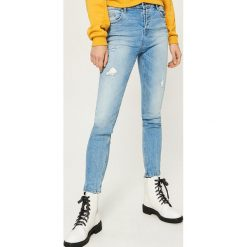 Jeansy slim fit high waist - Niebieski. Niebieskie jeansy damskie relaxed fit Sinsay, z podwyższonym stanem. W wyprzedaży za 59,99 zł.
