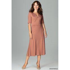 Sukienka K478 braz. Szare sukienki na komunię marki Pakamera, dekolt w kształcie v, midi. Za 179,00 zł.