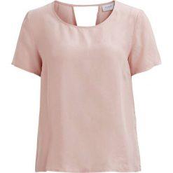 Bluzki damskie: Gładka bluzka z okrągłym dekoltem i krótkim rękawem