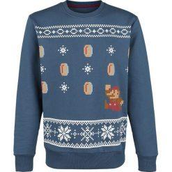Swetry klasyczne męskie: Super Mario Mario Christmas Sweater Sweter niebieski