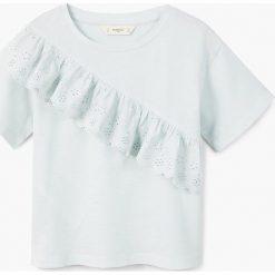 Mango Kids - Top dziecięcy Noelia 110-164 cm. Różowe bluzki dziewczęce bawełniane marki Mayoral, z okrągłym kołnierzem. Za 59,90 zł.