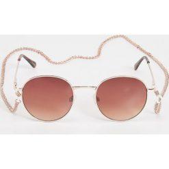 Okulary przeciwsłoneczne damskie: Okulary przeciwsłoneczne na łańcuszku – Brązowy