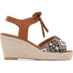 Rzymianki damskie: Sandały na koturnie ze sznurka, na szeroką stopę 38-45