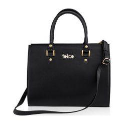 SKÓRZANA TORBA DO RĘKI  FELICE GOLD GATTO CZARNA MADELYN. Czarne torby na laptopa FeliceGold, w paski, z bawełny. Za 399,00 zł.