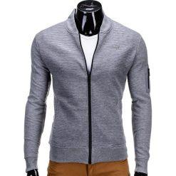 BLUZA MĘSKA ROZPINANA BEZ KAPTURA B551 - SZARA. Szare bluzy męskie rozpinane marki Ombre Clothing, m, z bawełny, bez kaptura. Za 49,00 zł.