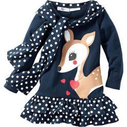 Sukienka + szalik (2 części) bonprix ciemnoniebieski. Czarne szaliki damskie marki bonprix, w paski, z dresówki. Za 59,99 zł.