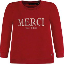 Bluza w kolorze czerwonym. Białe bluzy dziewczęce z nadrukiem marki Marc O'Polo Junior, z okrągłym kołnierzem, z długim rękawem. W wyprzedaży za 82,95 zł.