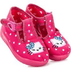 Buciki niemowlęce chłopięce: GEMMA różowe buciki w grochy