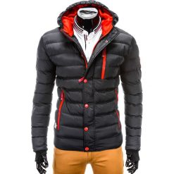 KURTKA MĘSKA ZIMOWA PIKOWANA C124 - CZARNA/CZERWONA. Czarne kurtki męskie pikowane Ombre Clothing, na zimę, m, z nylonu. Za 149,00 zł.