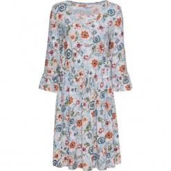 Sukienka dżersejowa bonprix pastelowy niebieski z nadrukiem. Niebieskie sukienki balowe marki bonprix, z nadrukiem, z dżerseju, ze sznurowanym dekoltem. Za 59,99 zł.