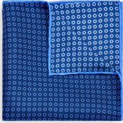 Poszetka Niebieska. Niebieskie poszetki męskie LANCERTO, w geometryczne wzory, z jedwabiu, klasyczne. Za 99,90 zł.
