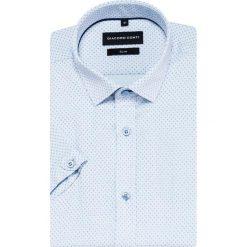 Koszula SIMONE slim KKWS000015. Niebieskie koszule męskie slim Giacomo Conti, m, z tkaniny, z klasycznym kołnierzykiem, z krótkim rękawem. Za 169,00 zł.