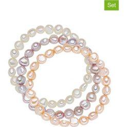 Bransoletki damskie: Bransoletki (3 szt.) w kolorze białym, brzoskwiniowym i lawendowym z pereł