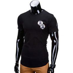 T-shirty męskie: T-SHIRT MĘSKI Z NADRUKIEM S726 – CZARNY