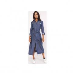 Długa sukienka w stylu militarnym, SUK158 jeans. Niebieskie długie sukienki marki Lanti, moro, z jeansu, militarne, z długim rękawem. Za 189,00 zł.