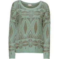 Swetry damskie: Sweter z połyskującą metaliczną nitką bonprix zielony miętowy