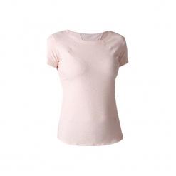 Koszulka krótki rękaw Gym & Pilates Free Move 520 damska. Czerwone bluzki sportowe damskie marki DOMYOS, l, z bawełny, z krótkim rękawem. W wyprzedaży za 34,99 zł.