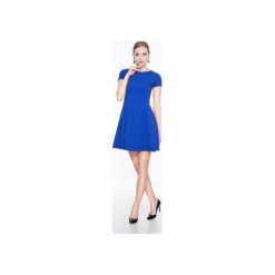 Rozkloszowana sukienka mini SL2165BL. Czarne sukienki mini marki Soleil, na imprezę, s, w kolorowe wzory, z bawełny, z długim rękawem, dopasowane. Za 119,00 zł.