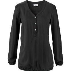 """Bluzka z dekoltem """"henley"""", długi rękaw bonprix czarny. Czarne bluzki asymetryczne bonprix, z kołnierzem typu henley, z długim rękawem. Za 74,99 zł."""