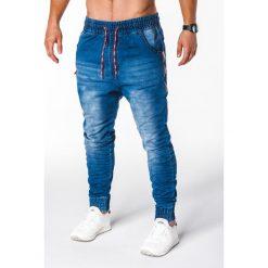 SPODNIE MĘSKIE JEANSOWE JOGGERY P648 - NIEBIESKIE. Niebieskie joggery męskie marki House, z jeansu. Za 75,00 zł.