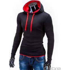 BLUZA MĘSKA Z KAPTUREM CAMILO - CZARNA/CZERWONA. Czarne bluzy męskie rozpinane marki Ombre Clothing, m, z bawełny, z kapturem. Za 49,00 zł.