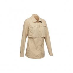 Koszula turystyczna długi rękaw DESERT 500 damska. Czerwone koszule damskie marki DOMYOS, z elastanu. Za 99,99 zł.