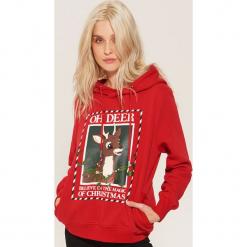 Bluza ze świątecznym nadrukiem - Czerwony. Czerwone bluzy z nadrukiem damskie House, l. Za 89,99 zł.