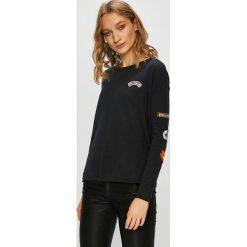 Roxy - Bluza. Czarne bluzy rozpinane damskie Roxy, l, z aplikacjami, z bawełny, bez kaptura. W wyprzedaży za 139,90 zł.