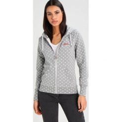 Superdry LABEL ZIPHOOD Bluza rozpinana mid grey marl. Szare bluzy rozpinane damskie marki Superdry, l, z nadrukiem, z bawełny, z okrągłym kołnierzem. Za 389,00 zł.