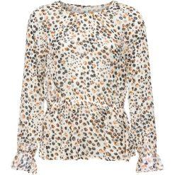Bluzka szyfonowa bonprix beżowy wzorzysty. Brązowe bluzki z odkrytymi ramionami bonprix, z materiału. Za 49,99 zł.