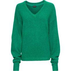 Sweter dzianinowy oversize bonprix zielony miętowy melanż. Zielone swetry oversize damskie marki bonprix, z dzianiny. Za 74,99 zł.