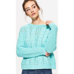 Swetry klasyczne damskie: Dzianinowy sweter z ozdobnym splotem - Turkusowy