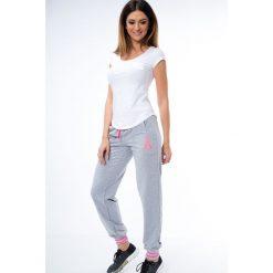 Spodnie dresowe damskie: Spodnie dresowe ze ściągaczami jasnoszaro-różowe 0470