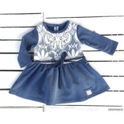 Sukienka jeans z koronką. Szare sukienki dziewczęce Pakamera, w koronkowe wzory, z bawełny, z długim rękawem, długie. Za 95,00 zł.